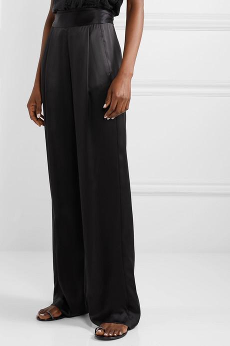 Gathered silk-charmeuse wide-leg pants