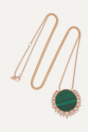 Sunlight 18-karat rose gold, malachite and diamond necklace