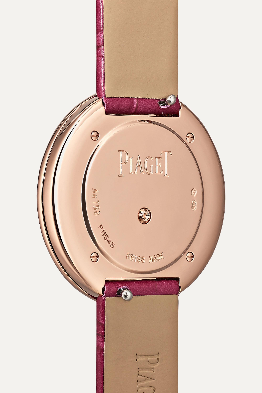 Piaget Possession 34 毫米 18K 玫瑰金钻石腕表(短吻鳄鱼皮表带)