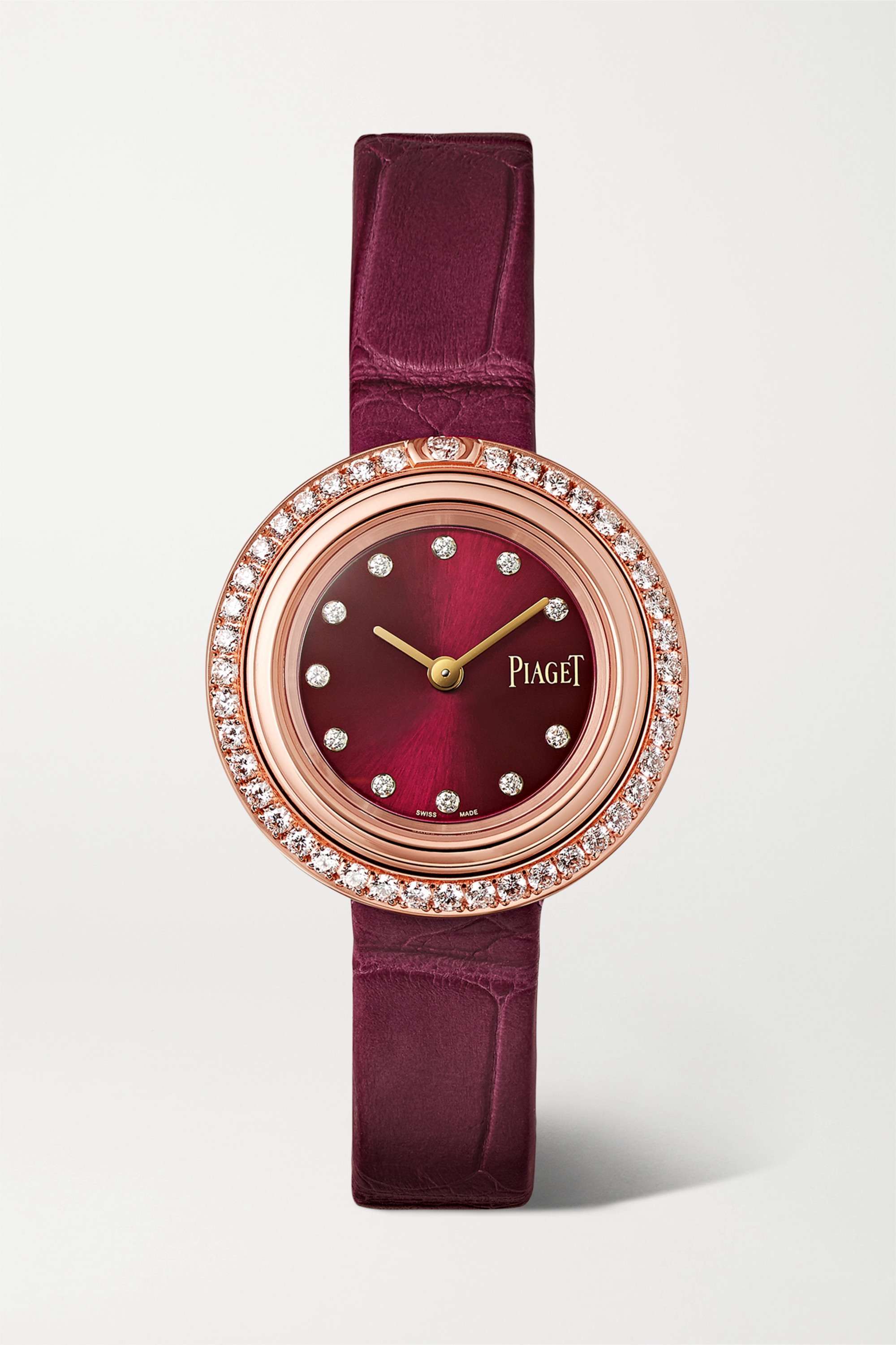 Piaget Montre en or rose 18 carats et diamants à bracelet en alligator Possession 29 mm