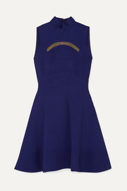 Antonio Berardi Mesh-trimmed paneled cady dress