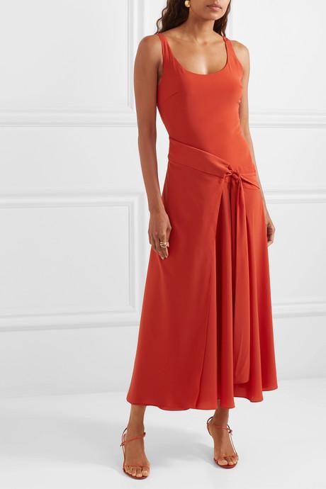 Asymmetric draped crepe wrap dress