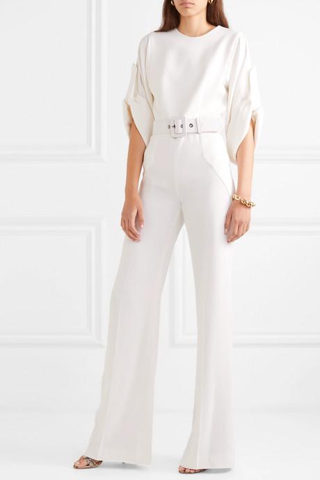 Belted silk-blend crepe jumpsuit