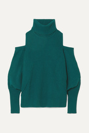 Antonio Berardi Cold-shoulder ribbed wool and cashmere-blend turtleneck sweater