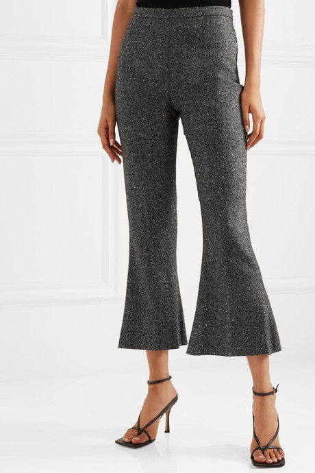 Cropped wool-tweed flared pants