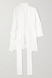 Antonio Berardi Cold-shoulder ruffled crepe de chine blouse