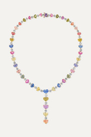 18-karat gold, platinum, diamond and sapphire necklace