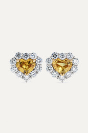 18-karat gold and platinum, sapphire and diamond earrings