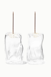 Maryam Nassir Zadeh Ice Cube glass and silver earrings