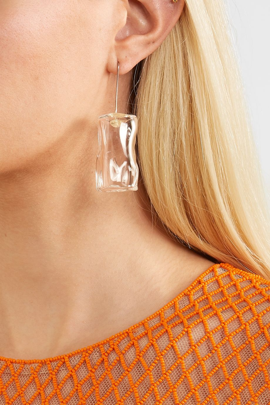 Maryam Nassir Zadeh Ice Cube silver-tone glass earrings