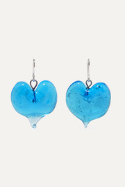Heart silver-tone glass earrings