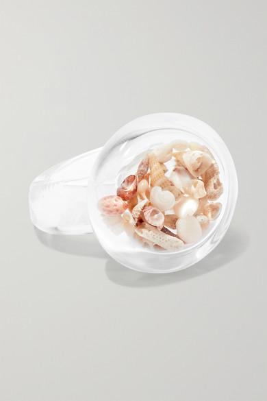 MARYAM NASSIR ZADEH | Maryam Nassir Zadeh - Circle Glass And Shell Ring - Clear | Goxip
