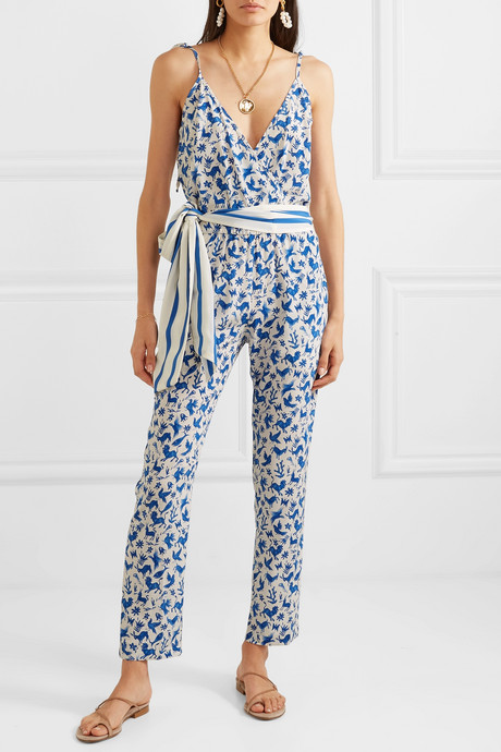 Cole printed silk-blend crepe de chine jumpsuit