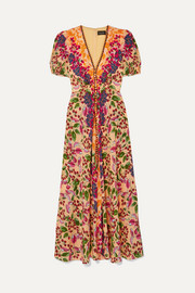 Saloni Lea floral-print silk crepe de chine maxi dress