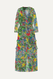 Saloni Izzie ruffled printed silk-chiffon maxi dress