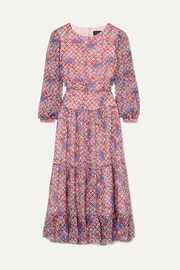 Saloni Isabel ruffled printed silk-georgette midi dress