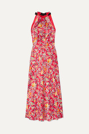 Saloni Michelle floral-print silk-satin halterneck midi dress