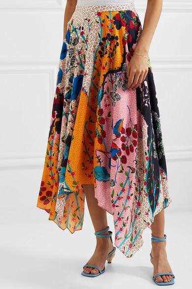 6f2ac15342 Saloni   Freja asymmetric floral-print silk crepe de chine midi ...
