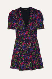 Saloni Lea floral-print chiffon wrap mini dress