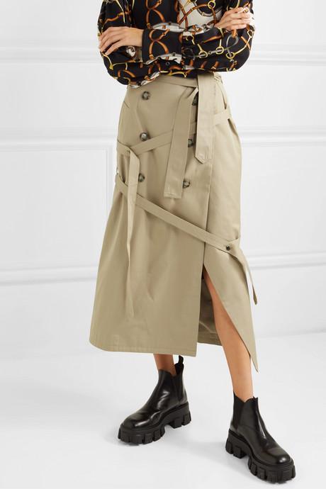 Button-embellished cotton-gabardine wrap skirt