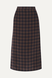 Rokh Houndstooth silk-georgette midi skirt