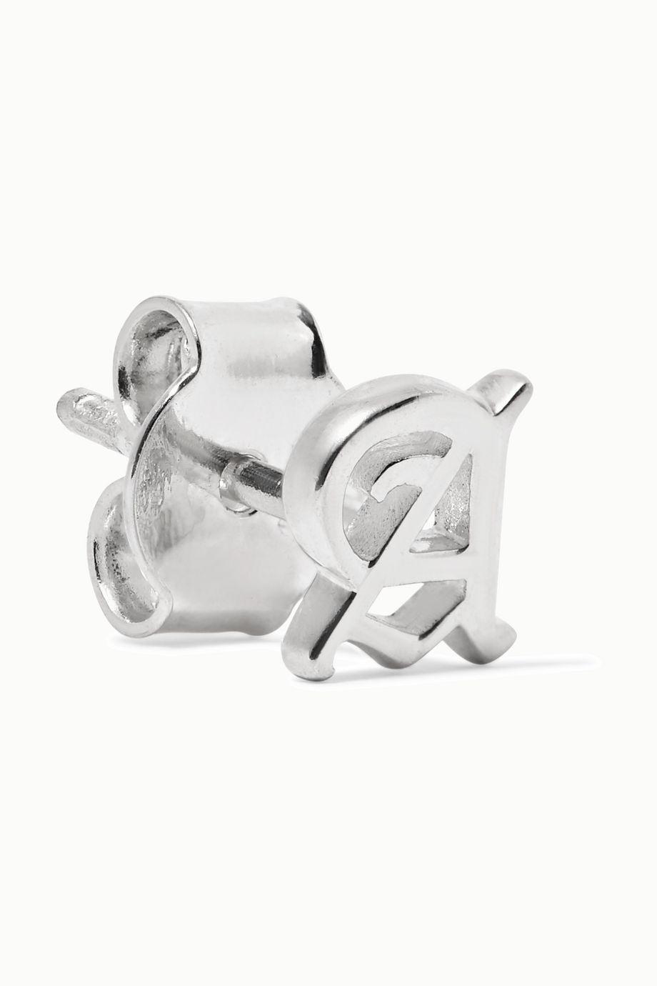 Meadowlark Alphabet silver earring