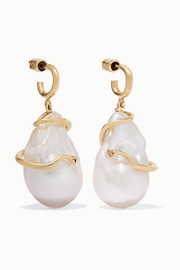 Meadowlark Medusa 9-karat gold pearl earrings