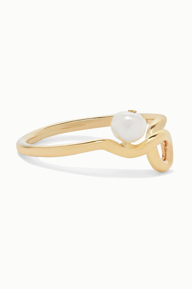MEADOWLARK   Meadowlark - Clio Gold Pearl Ring - 5   Goxip