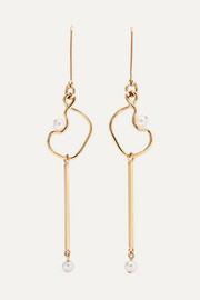 Clio 9-karat gold pearl earrings