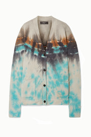 Oversized tie-dyed cashmere and wool-blend cardigan