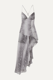 Asymmetric layered snake-print silk-chiffon maxi dress