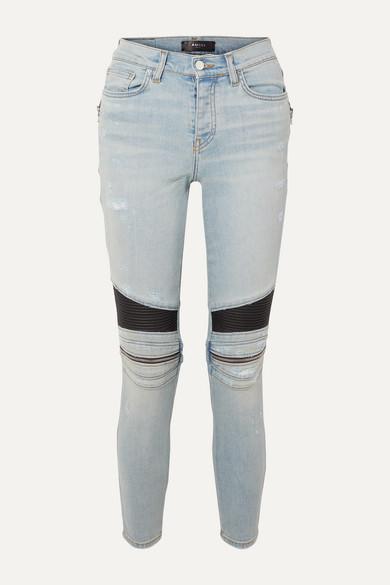 Amiri Jeans MX2 zip-embellished leather-paneled high-rise skinny jeans