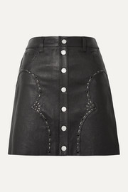 AMIRI Embellished leather mini skirt