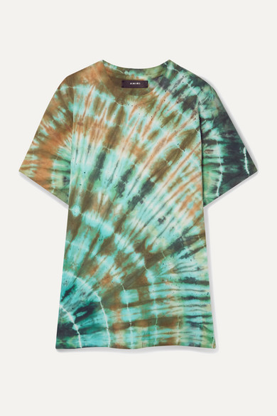 Amiri T-shirts Distressed tie-dyed stretch cotton-jersey T-shirt