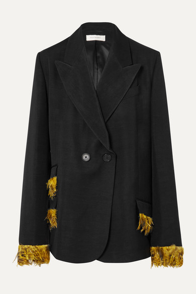 Feather Trimmed Double Breasted Woven Blazer by Wales Bonner