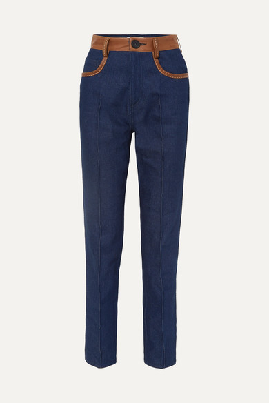 Wales Bonner Jeans Leather-trimmed high-rise straight-leg jeans