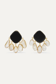Estal gold-plated onyx and pearl earrings