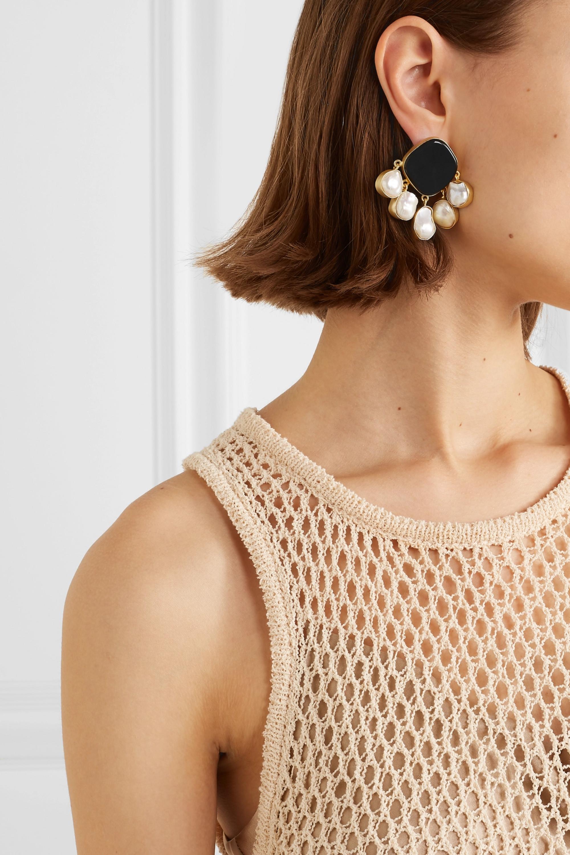 Peet Dullaert Estal 缟玛瑙、珍珠、镀金耳环