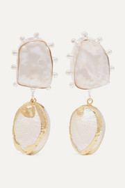 Vaia gold-plated, pearl and shell earrings
