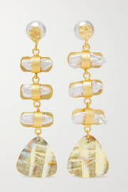 Aroda gold-plated pearl earrings