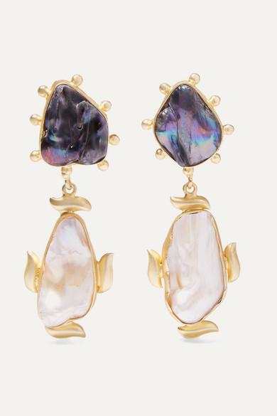 Riya Gold Plated Pearl Earrings by Peet Dullaert