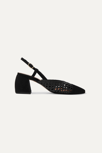Tenerife Suede And Woven Leather Slingback Pumps by Souliers Martinez