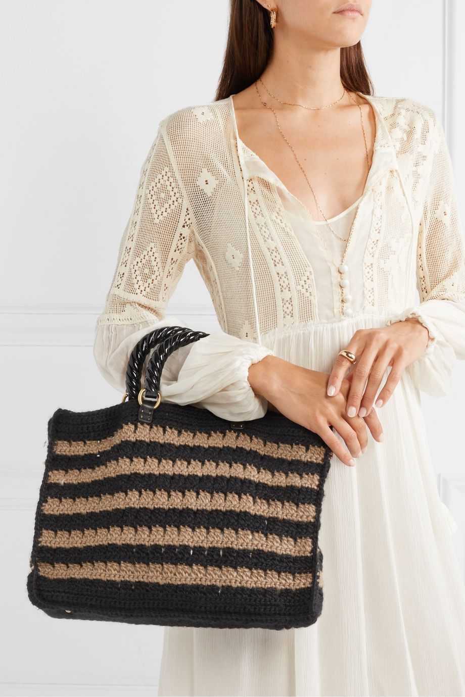 Mehry Mu Lucia striped knitted tote