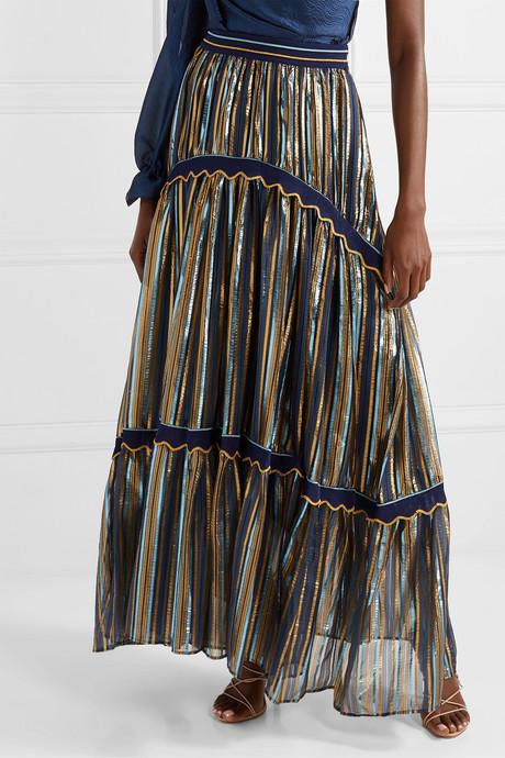 Crochet-trimmed striped Lurex and chiffon maxi skirt