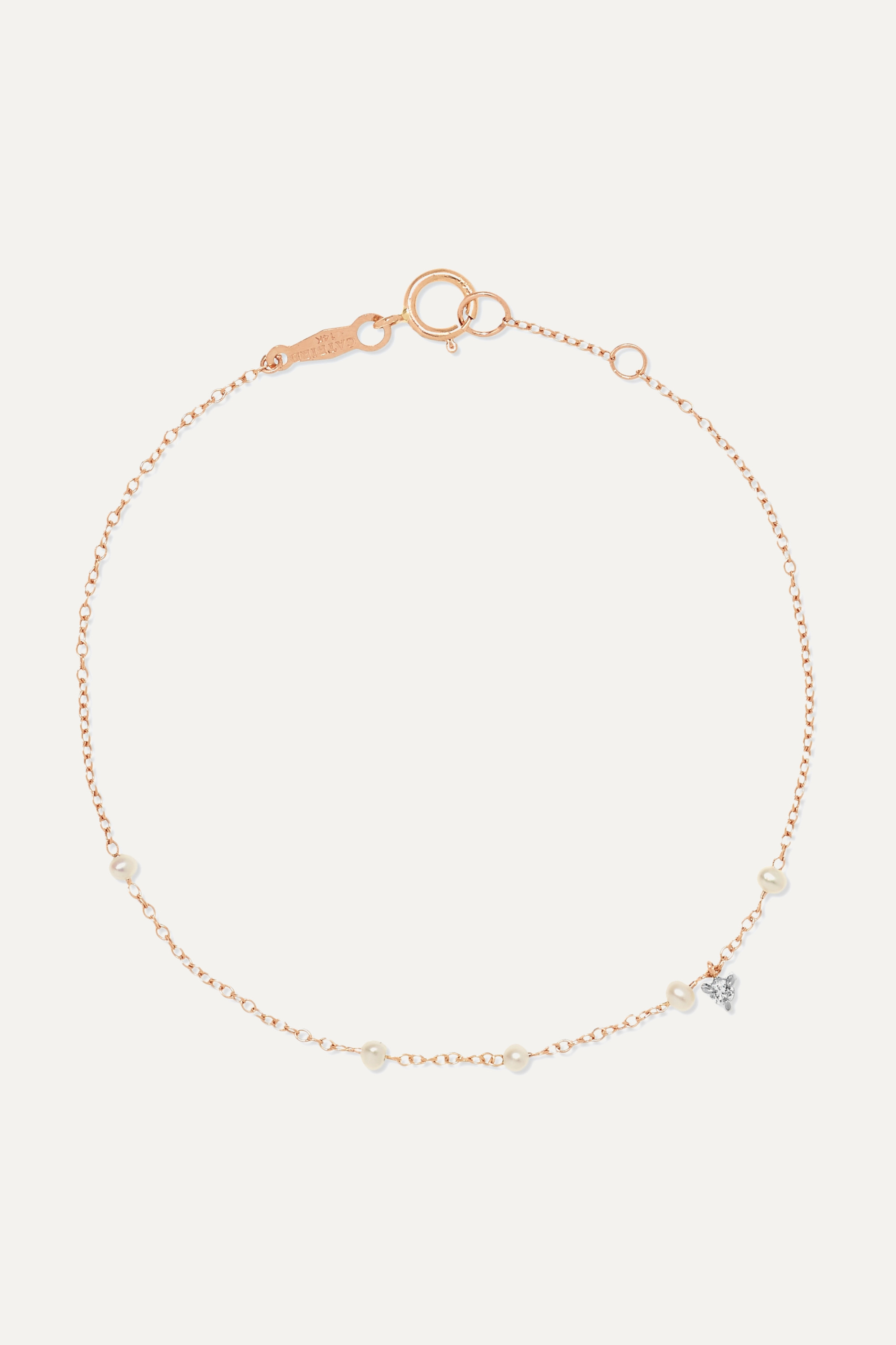 Catbird + NET SUSTAIN Dew Drop 14-karat rose gold, pearl and diamond bracelet