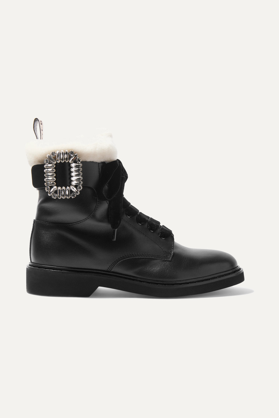 Roger Vivier Ranger shearling-lined crystal-embellished leather ankle boots