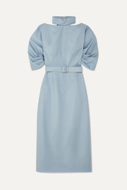 + The Woolmark Company belted wool-crepe midi dress