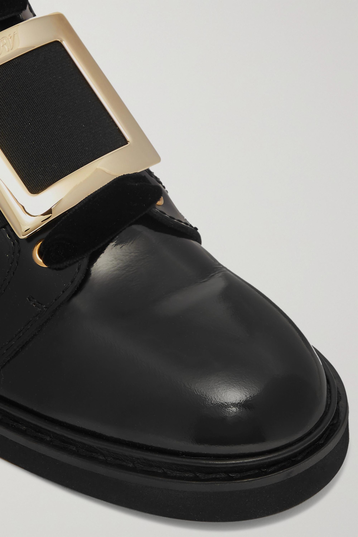 Roger Vivier Ranger embellished velvet-trimmed patent-leather ankle boots