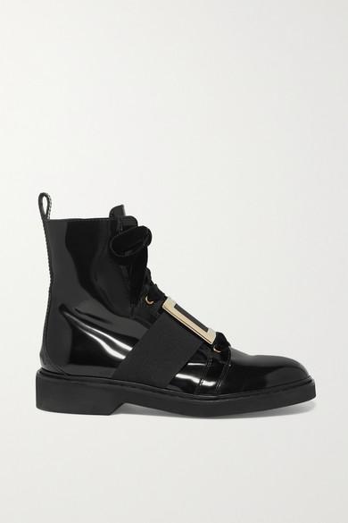 ranger-embellished-velvet-trimmed-patent-leather-ankle-boots by roger-vivier