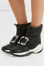 Roger Vivier Run buckled shell and leather ankle boots
